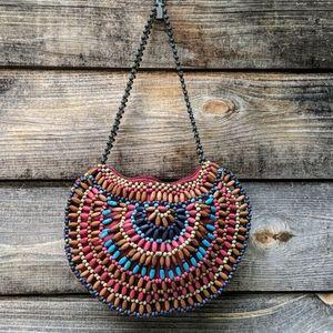 Vintage Multicolor Rainbow Wooden Bead Bag